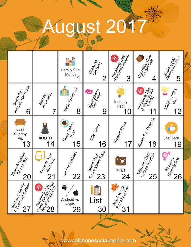 content calendar august