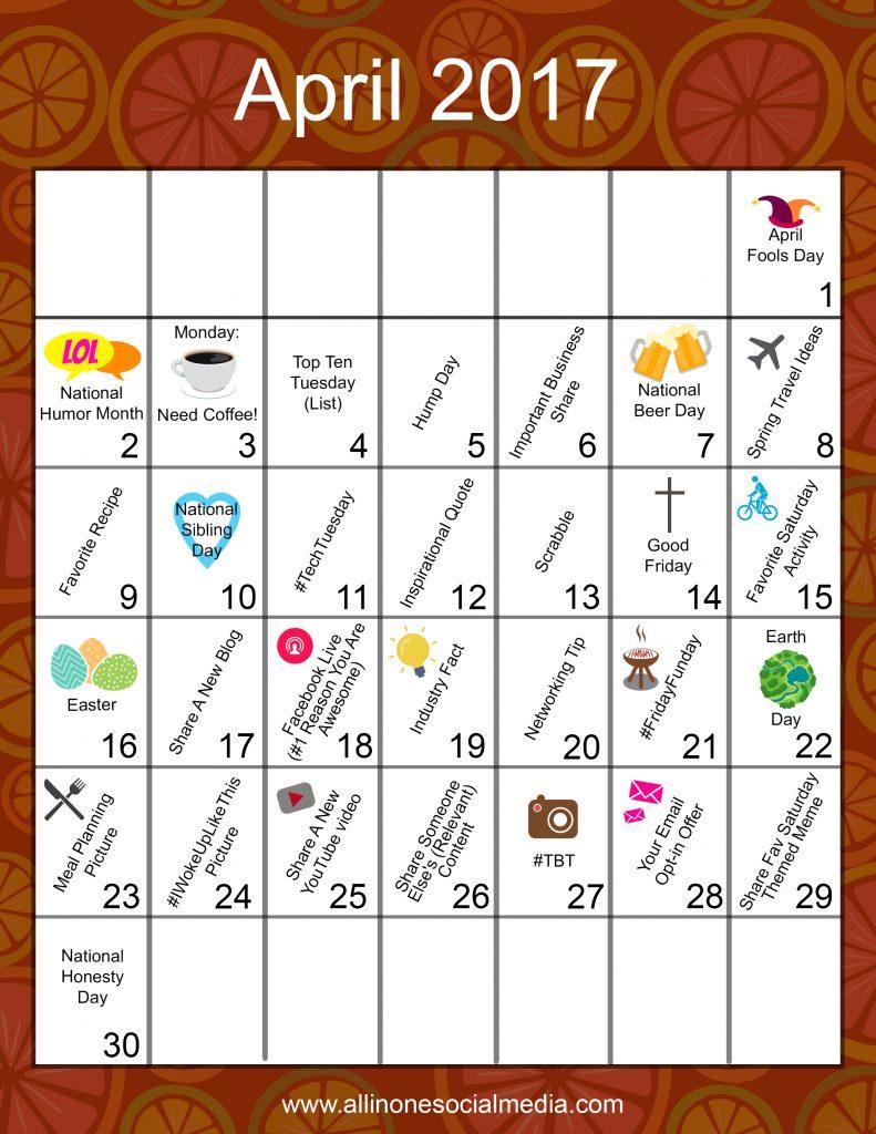 Content Calendar April