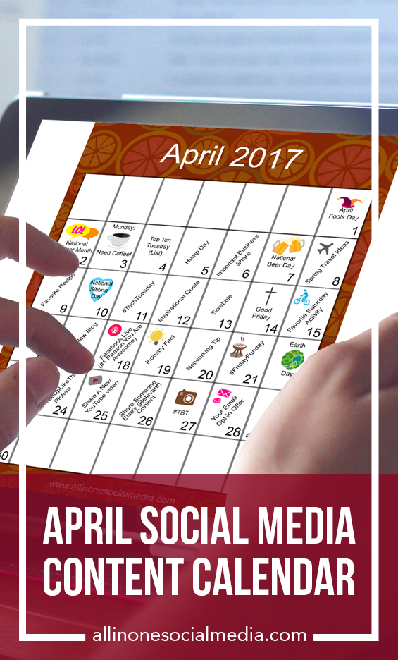 Content Calendar | Social Media | April Marketing Plan your April content marketing with ease with the help from this month's social media content calendar