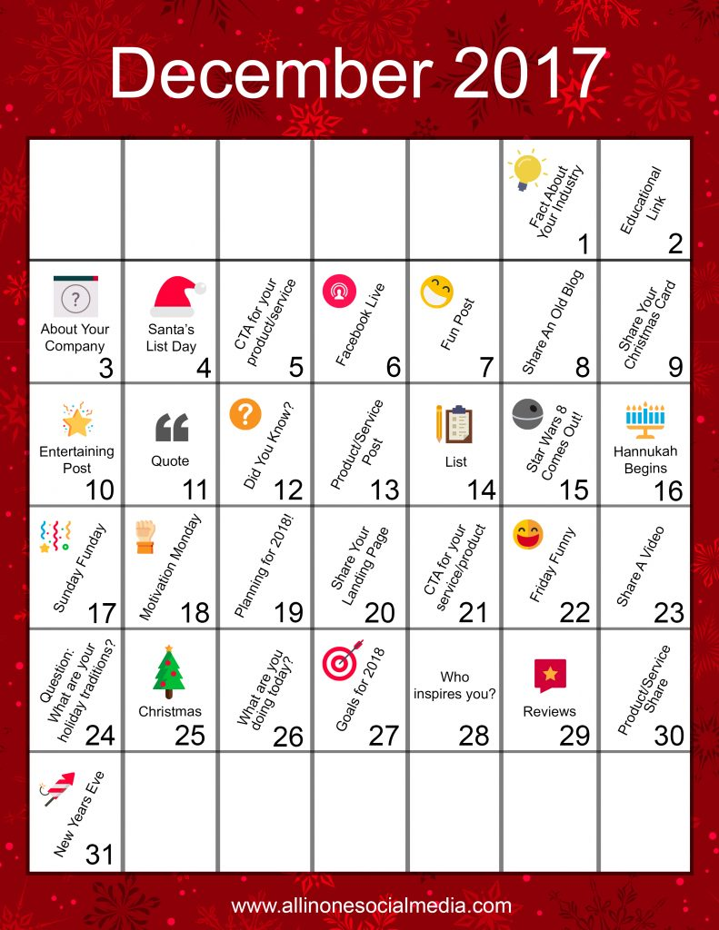 December Content Calendar [Infographics]